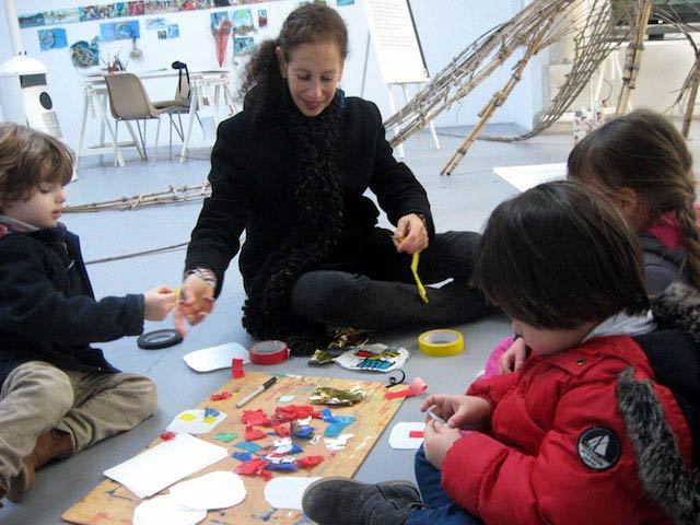 Reenie Charriere leading a workshop at the Chateau de la Napoule in France. The children were creating works out of repurposed plastic found along the shore in the Cote d'Azur region of the Mediterranean Sea.