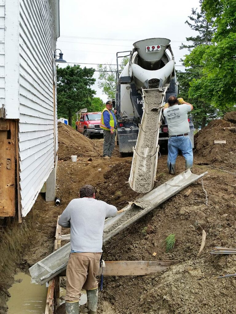 Pouring the new foundation to preserve the SEED Barn