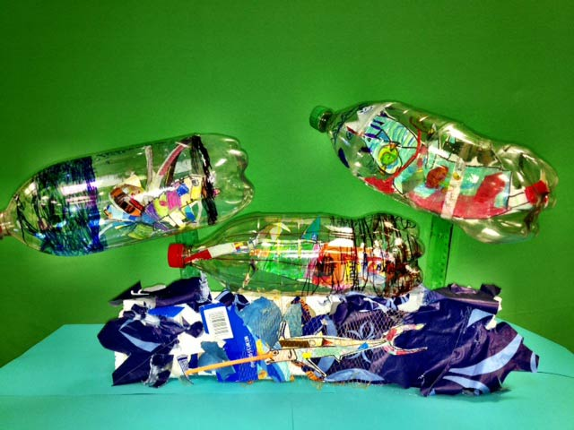 Message in a Bottle pieces created in a workshop facilitated by Kristen Heeres at Holm Elementary, Denver