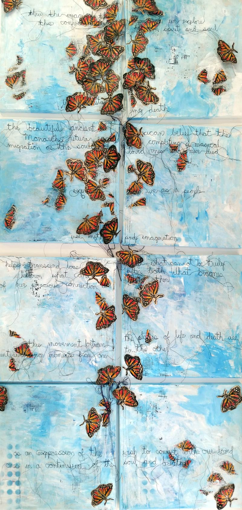 Stephanie Hilvitz collage painting of Monarchs integrates sewn reflections of migration