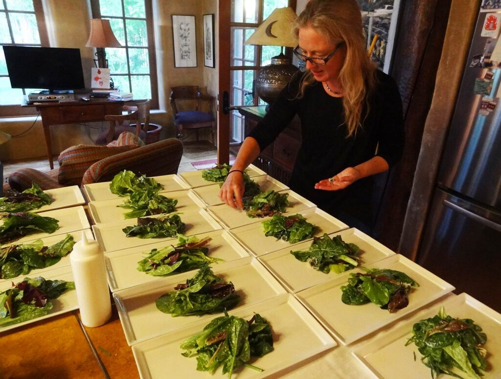 Salad plating at the Taos Distillery